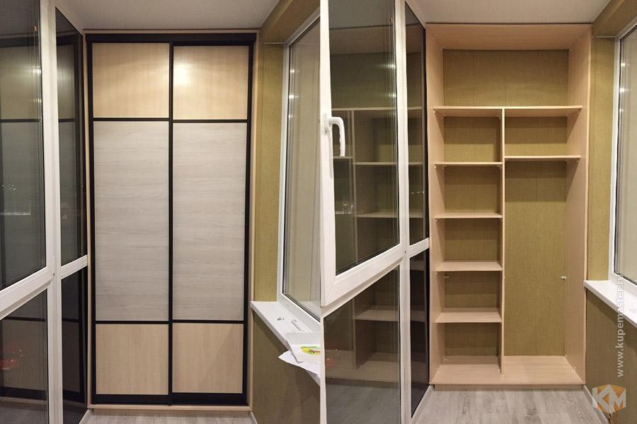 """Нагано"""" раздвижной шкаф-купе на балкон, цвет клен и акация, ."""